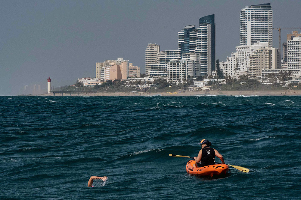 FAMILIAR WATERS: Endurance swimmer Sarah Ferguson passes Umhlanga – a stretch where she often swims at  weekends.Picture: Linda Ness
