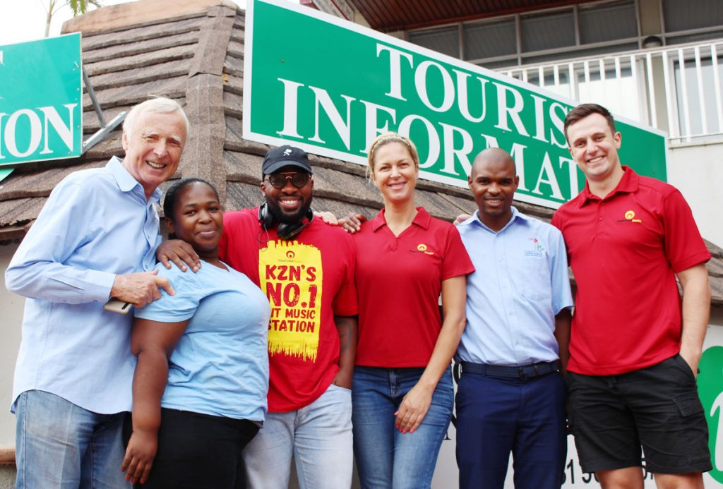 FEATURED IMAGE: Umhlanga Tourism meet the ECR Drive team. From left are: Peter Rose, Nonhlanhla Mtshali, Bongani Mtolo, Mags Westerhof, Sabelo Didi and Gareth Jenkinson.